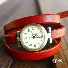Hot Sale Vintage Genuine Cow leather Wrap Bracelet Watch Women Ladies Men Fashion Dress Quartz Wristwatches KOW025