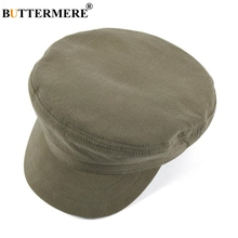BUTTERMERE Military Hat For Women 2019 Spring Summer Cotton Ladies Army Cap Green Solid Brand Female Flat