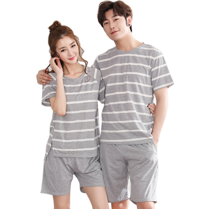 New Summer Pajama Sets Couple Pajamas Women Men Sleepwear Mujer Striped Pijama Short Sleeve Nightwear Homewear Plus Size
