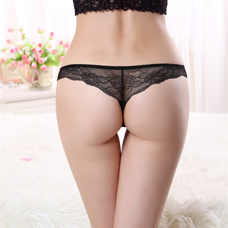 Ixuejie Women Lace Silk G String Sexy Lady Underwear Thongs Panties Underwear Transparent Breathable