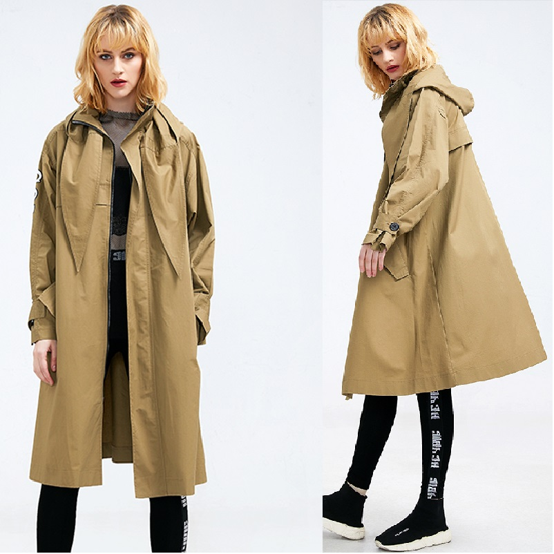 New 2018 Plus size women clothing Spring elegant thin   trench   coat female hooded letter printed outwear casual outfit street wear