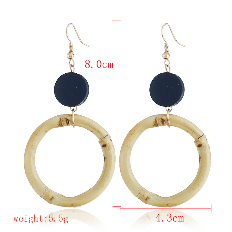 2018 Korean New Round Circle Bamboo Joint Drop Earrings Wooden Splicing Straw Weave Statement Brincos For Women Maxi Jewelry in Drop Earrings from Jewelry Accessories