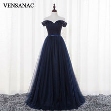 VENSANAC 2017 New A Line Bowknot Sash Boat Neck Long Evening Dresses Short Cap Sleeve Elegant Draped Lace Party Prom Gowns