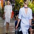 2017 Nueva Llegada de la ALTA Calidad Runway Fashion Women Novedad de Nuevo V Abierta Asimétrica Camisa Del Diseñador del Vestido