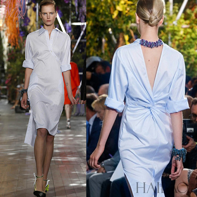 Ecombird 2018 High Quality Runway Y Lady Dress Women Novelty Back V Open Asymmetrical Designer Office