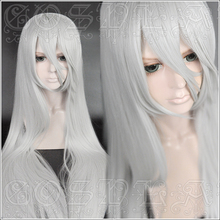 Game NieR Automata YoRHa Type A No.2 A2 Cosplay Wigs Silver White Long Heat Resistant Synthetic Hair Wig + Wig Cap