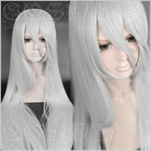 لعبة NieR autoata YoRHa نوع A No.2 A2 تأثيري الباروكات الفضة الأبيض طويل مقاومة للحرارة شعر مستعار اصطناعي + غطاء شعر مستعار
