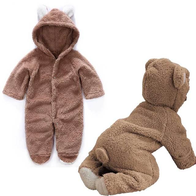 Warm & Fluffy Cartoon Animal Bear Jumpsuit