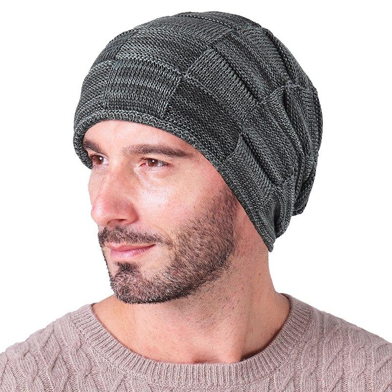 2018 Mens   Beanie   Wool Knit Warm Hat Winter Fleece Liner Cap For Men Plaid knitted Caps Balaclava   Skullies     Beanies
