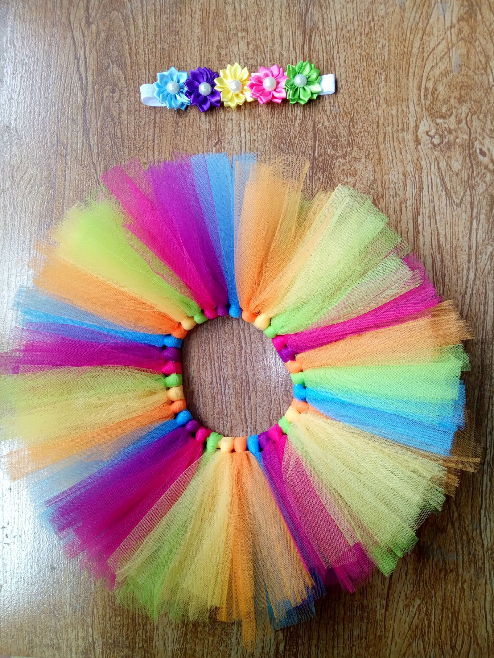 Colorful Rainbow Colors Cute New Born Costume Outfit Newborn Baby Photography Props Sweet Photo Props Skirt Flower Headband