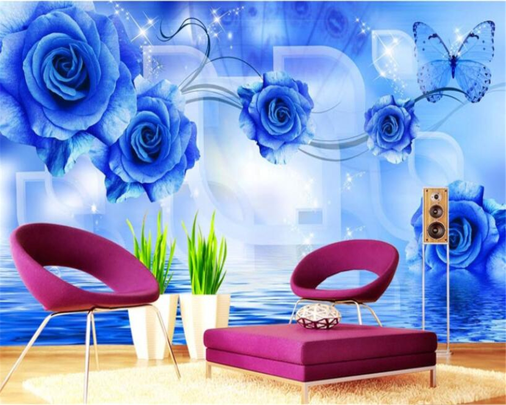 Beibehang Custom 3D Photo Wallpaper Modern Blue Rose Reflection Wall Painting Wallpaper Living Room TV Background 3d wallpaper