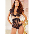 2016 Sexy Ladies Lingerie Sets  Dark Blue &BlackLace Tie Front Top High Waisted Panty Babydolls Sleepwears Exotic Clothes LC4290