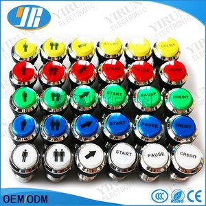 CHROME Plated illuminated 1P 2P 3P 4PLED Arcade Start Push Button with microswitch arrow Button credit Button
