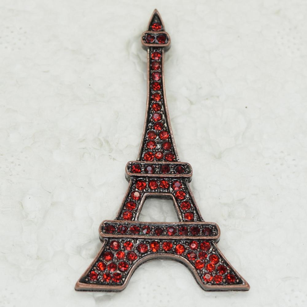 Red Rhinestone Eiffel Tower Pin Brooches Pendant C326 C3