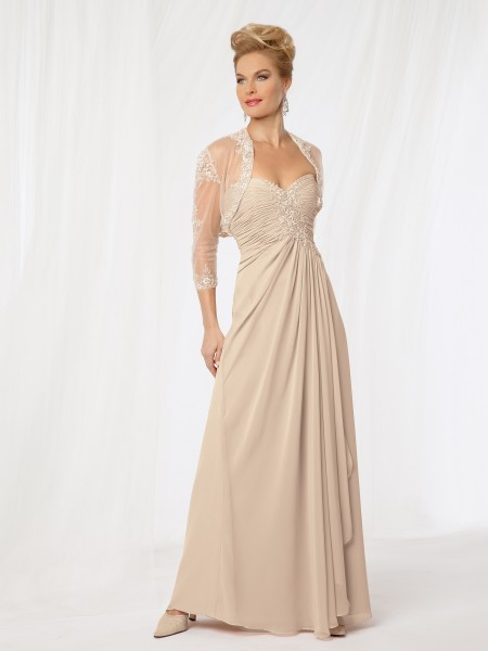 Vogue Sweetheart 2015 Mother of the Bride Dresses With Sheer Bolero Champagne Cheap Chiffon Long