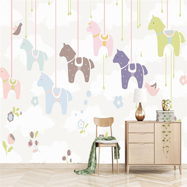 3D Custom Murals Cartoon Pattern Wallpapers Kids For Childrens Room Horse Photo Wall Papers