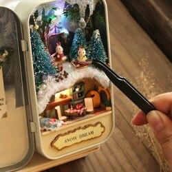 Зимние мечта Кукольный дом 3D DIY Миниатюрные деревянные головоломки Кукольный домик мини мебель украшения игрушки для детей подарок на день ...