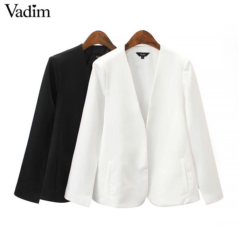 Vadim women elegant black white V neck coat pockets office wear solid outerwear female casual chic open stitch tops CA347Jackets   -
