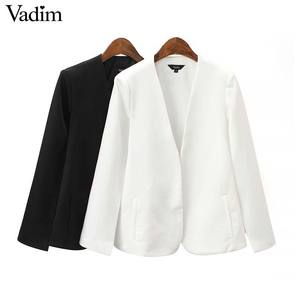 Image 1 - Vadim women elegant black white V neck coat pockets office wear solid outerwear female casual chic open stitch tops CA347