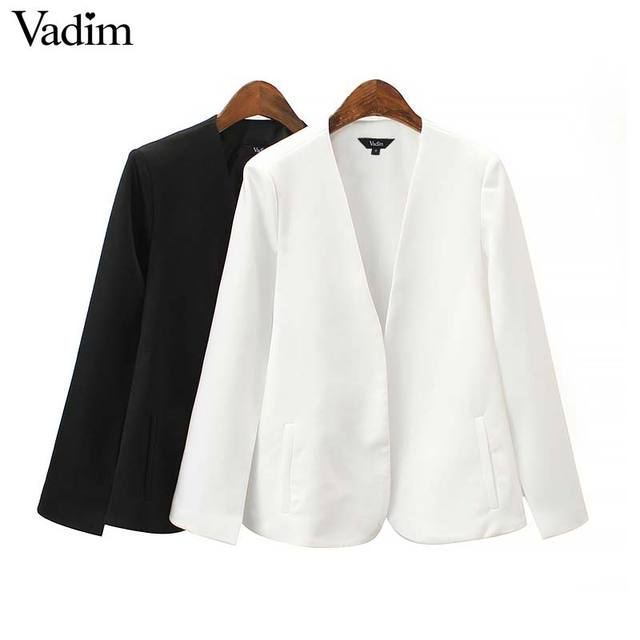 Vadim women elegant black white V neck coat pockets office wear solid outerwear female casual chic open stitch tops CA347