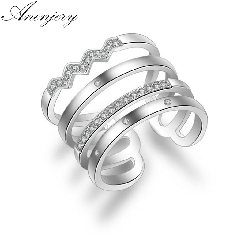 Anenjery Korean Style 925 Sterling Silver Opening Rings Personality Exaggerated Multi-layer Mosaic Zircon Rings For Women S-<font><b>R308</b></font> image