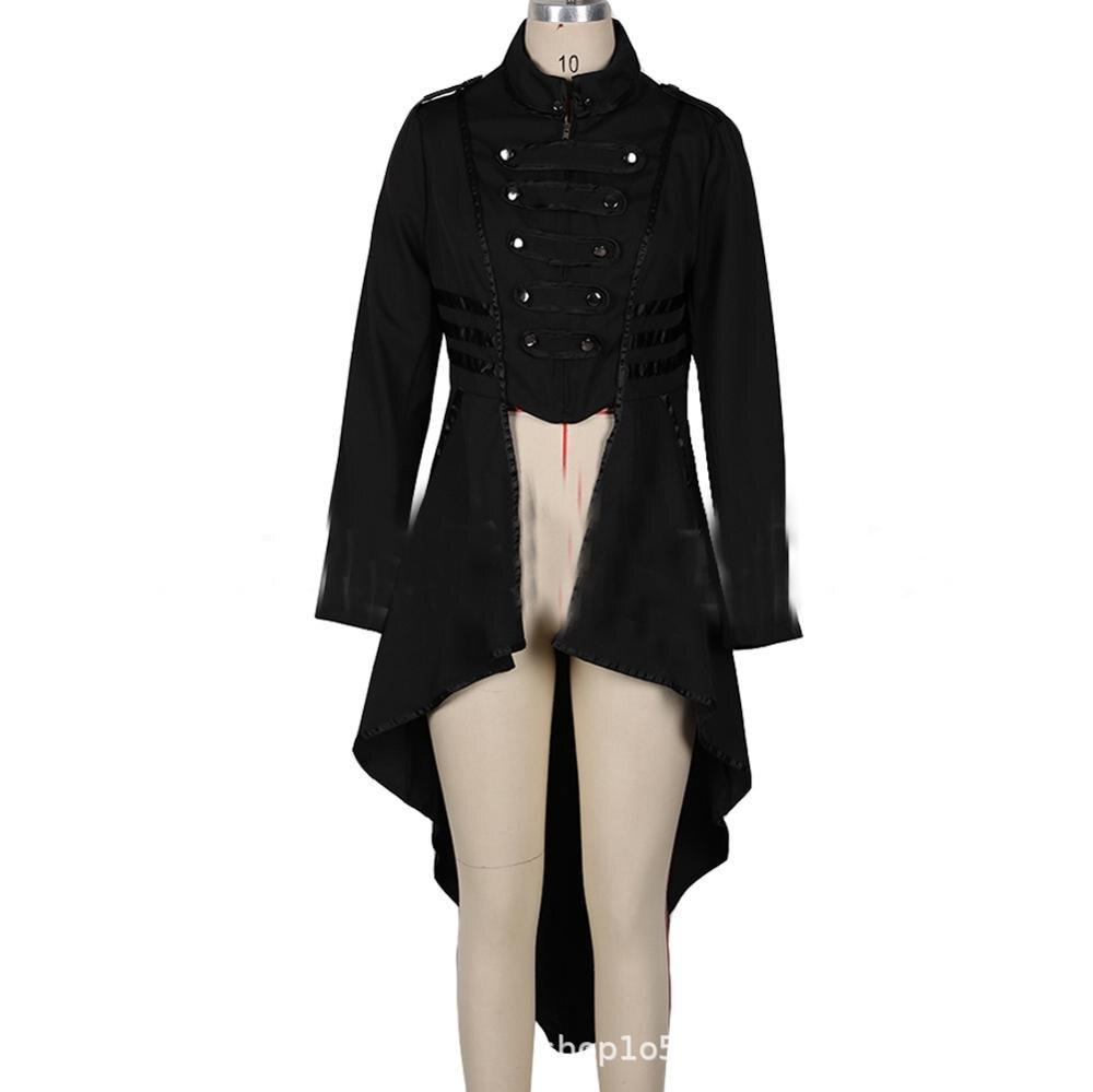 Женское готическое пальто в стиле милитари, черная панк Дамская униформа в стиле стимпанк, куртка в викторианском стиле, Тренч с высоким низом, верхняя одежда для женщин - Цвет: Черный