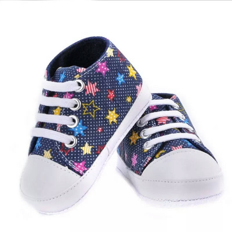 New Baby Shoes Stars Print Canvas First Walker Sneaker Sport Shoes Soft Prewalkers Casual Baby Girl Boys Shoes Baby Moccasins