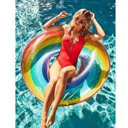 120 см гигантские надувные Радуга плавание кольцо с ручкой бассейна для взрослых детей воды Плавающие для отдыха и вечеринок игрушки Piscina