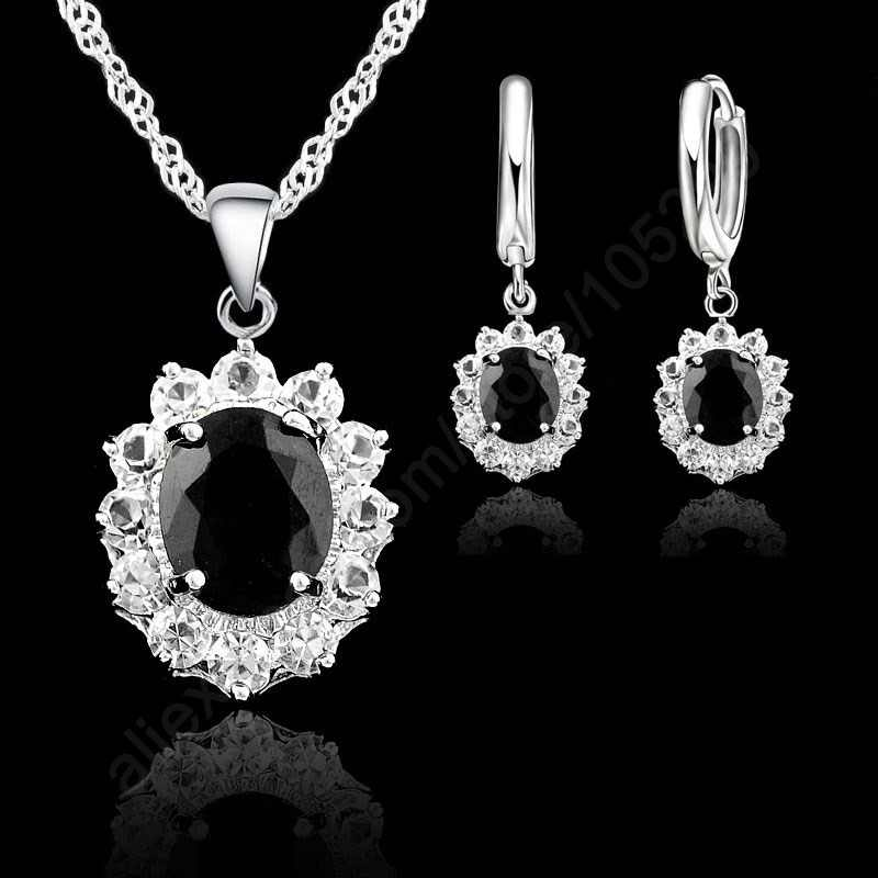 Black Oval CZ Jewelry Sets 925 Sterling Silver Pendant Necklace+Hoop Earring Princess Wedding Engagement For Women