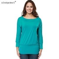 Xinyuwei Autumn 2017 Women Long Sleeve Knitted Shirt Round Neck Stretch Solid Tee Shirt Femme Casual