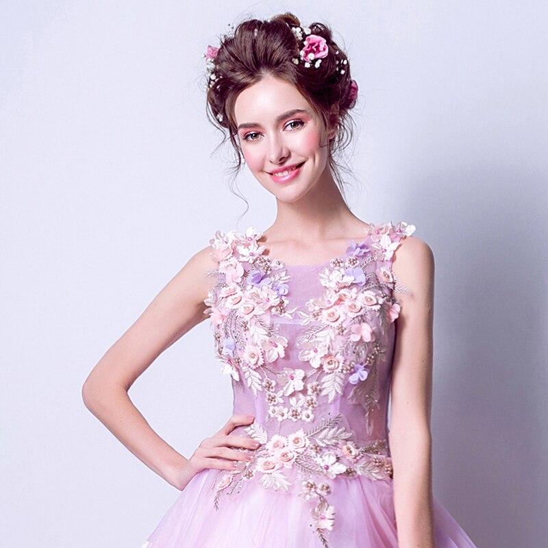 Anxin SH flores coloridas vestido de noche suave rosa púrpura novia ...