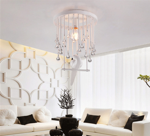 US $79.98  Nordic k9 kristall vogel deckenleuchten led lampen Wohnzimmer  Esszimmer kunst kristall decke e27 led licht deckenleuchte in Nordic k9 ...