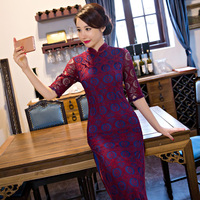 New Arrival Long Slim Women Cheongsam Dress Chinese Ladies Lace Qipao Novelty Sexy Flower Dress Size
