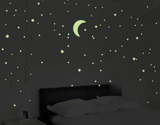 Luminoso stelle e la luna wall sticker per dormitorio soffitto della camera da letto sticker 193 ...