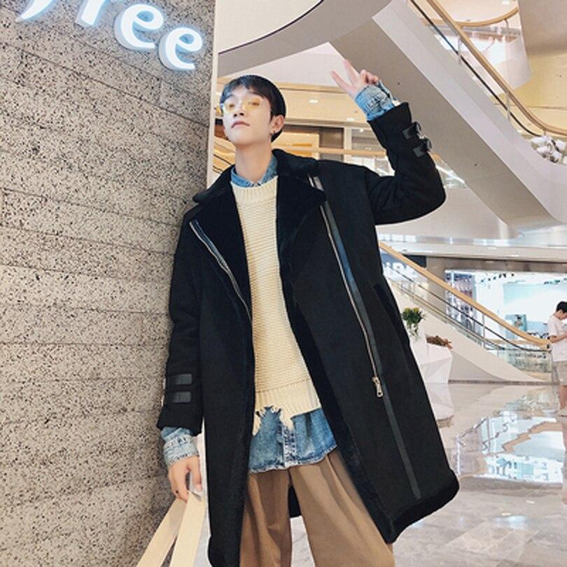 Nouveau 2019 mode coréenne épaisse de haute qualité longue Trench manteau hommes hiver pardessus lâche hiver Zipper hommes Trench Coat 2 couleurs - 3