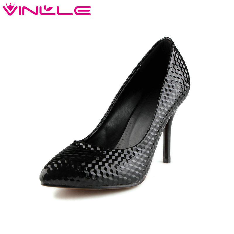VINLLE 2017 Women Pumps Summer Spring Pointed Toe OL Shoes PU Ladies Slip on Shoes Women Party Thin High Heel Pumps Size 34-43 fashion women ladies pumps solid color spring summer pointed toe thin heel shoes new arrival high quality brand slip on pumps