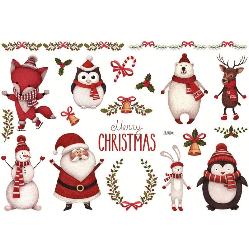 Hot Sale Creative Christmas Style Stationery Stickers Kawaii Santa Claus/Elk/Christmas Tree/Wreath DIY Children Sketching Album