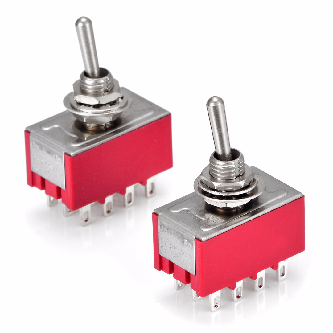 2pcs Durable Mini MTS-402 Toggle Switches AC 250V 2A 125V 5A 12 Pins 2 Position 4PDT ON/ON Switch Mayitr Electrical Supplies