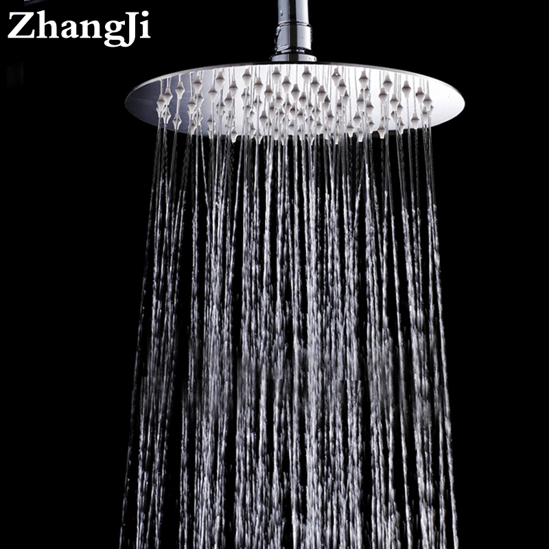 Us 18 14 43 Off Zhangji 10 Inch Round Shape Stainless Steel Bathroom Head Shower Large Rain Ceiling Nozzle Sprayer In
