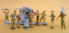 Free Shipping 1/35 Scale Unpainted Resin Figure WW2 German 88mm  artillery group(not contain the cannon)