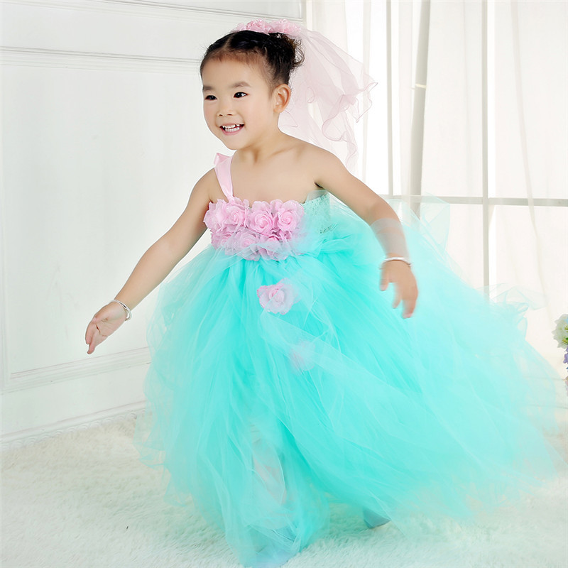 Elegant Kids Princess Dress Flower Girl Dresses For Party and Wedding Costumes Pageant Girl Prom Dress Turquoise Tutu Dresses 15 color infant girl dress baby girl pageant dress girl party dresses flower girl dresses girl prom dress 1t 6t g081 4