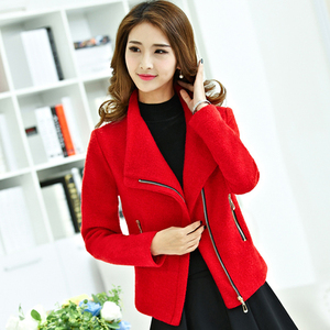 Image 2 - Women Autumn Red Thick Woolen Jacket Female Short Coat