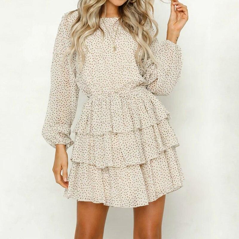 polka dot dress women white backless mini party dresses long sleeve autumn summer sundress 2019 female vestidos party dress in Dresses from Women 39 s Clothing