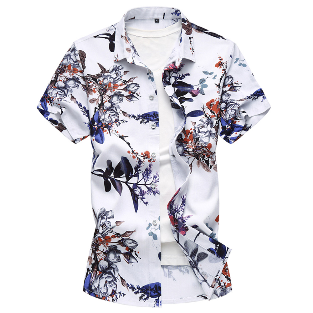 Summer Large size Mens Shirt Male Flower pattern Cotton flax Short Sleeve Shirt Vibrant Hawaii Beach Casual Shirt Man M-6XL 7XL ...