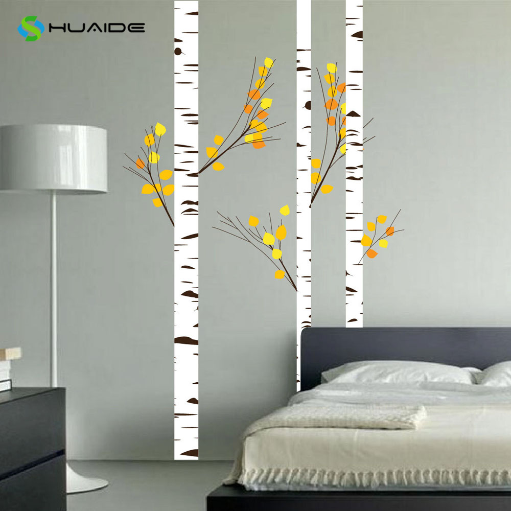 Wild birch forest with owls vinyl wall decal - Huge Birch Tree Wall Decal Forest With Leafs And Branches Vinyl Wall Stickers Decor Bedroom Nursery