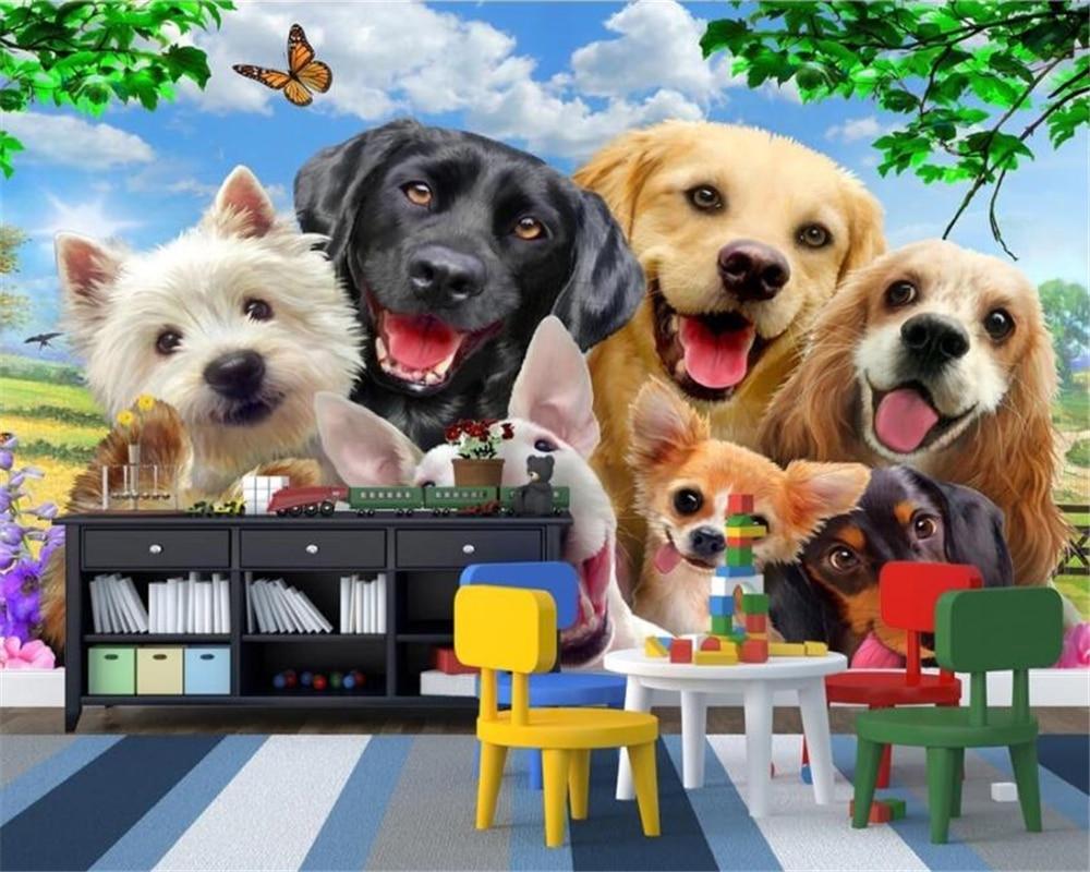 US $8 85 OFF Beibehang Lucu Kartun Rumput Di Anjing Foto Mural Wallpaper Kids Room Latar Belakang Wallpaper Untuk Dinding 3 D Papel De