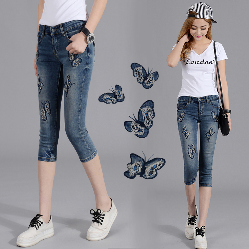 2019 Summer Fashion Pencil Denim Jeans Women Butterfly Embroidered Jeans Female Blue Casual 25 36 Pants Capris Y253
