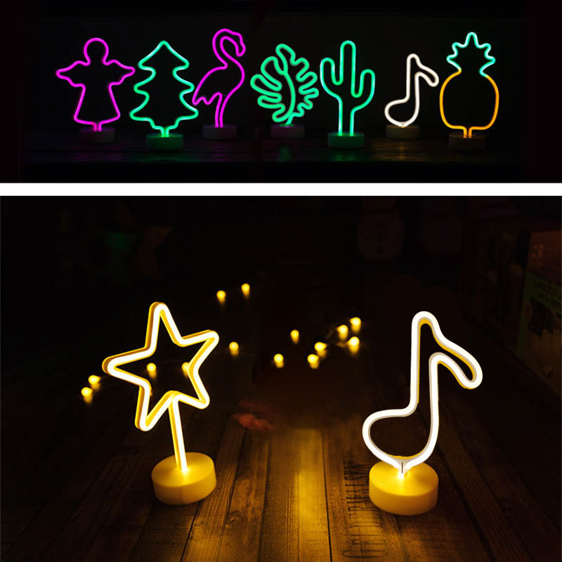 Night Light Creative LED Green Cactus Neon For Kids Childrens Rooms Battery Power Night Lamp Table Lamp Party Decoration Lights