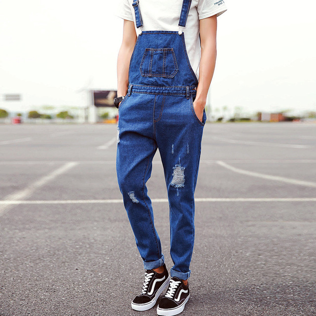 c06f02be3a0 Male Bib Denim Overalls Slim Casual Ripped Jeans Overalls For Adult Men Blue  Long Jumpsuit Pants Adjust Suspender Plus Size XXL
