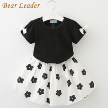 Bear Leader 2017 New Fashion Kids Girls Clothes Set Black Bowknot Short T-shirt +Flowers Ball Gown Dress 2pcs Clothing Sets 3-7Y